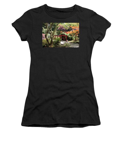 Japanese Garden Bridge With Rhododendrons Women's T-Shirt