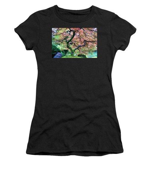Japanese Tree In Garden Women's T-Shirt (Junior Cut) by Athena Mckinzie