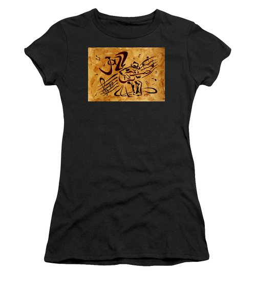 Women's T-Shirt (Athletic Fit) featuring the painting Jazz Abstract Coffee Painting by Georgeta  Blanaru