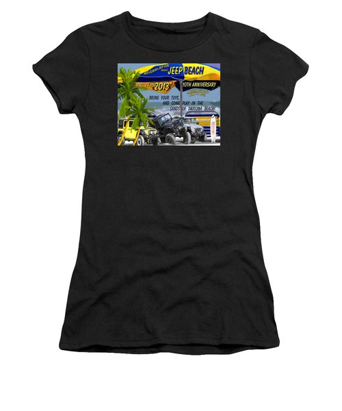 Women's T-Shirt (Junior Cut) featuring the photograph Jeep Beach 2013 Welcomes All Jeepers by DigiArt Diaries by Vicky B Fuller