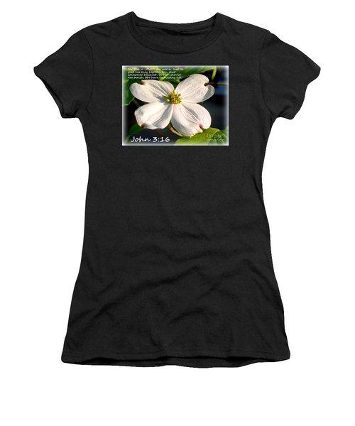 John 3-16/dogwood Legend Women's T-Shirt (Junior Cut)