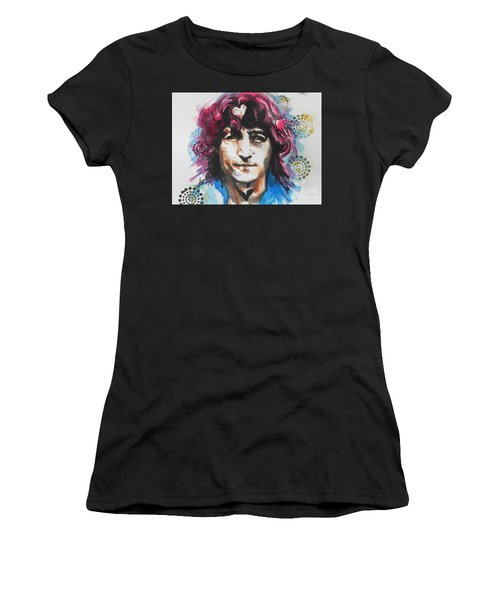 John Lennon..up Close Women's T-Shirt (Athletic Fit)