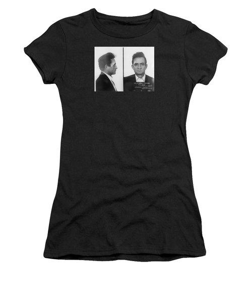 Johnny Cash Folsom Prison Large Canvas Art, Canvas Print, Large Art, Large Wall Decor, Home Decor Women's T-Shirt (Junior Cut) by David Millenheft