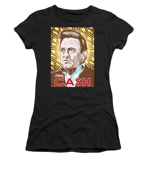 Johnny Cash Pop Art Women's T-Shirt (Athletic Fit)