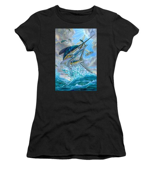 Jumping White Marlin And Flying Fish Women's T-Shirt