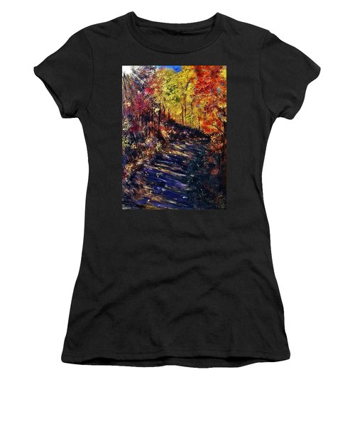 Women's T-Shirt (Junior Cut) featuring the painting Just The Sound Of The Forest... by Cristina Mihailescu