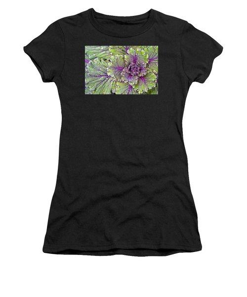 Kale Plant In The Rain Women's T-Shirt (Athletic Fit)