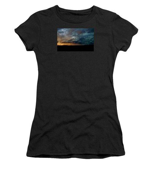 Women's T-Shirt (Junior Cut) featuring the photograph Kansas Tornado At Sunset by Ed Sweeney