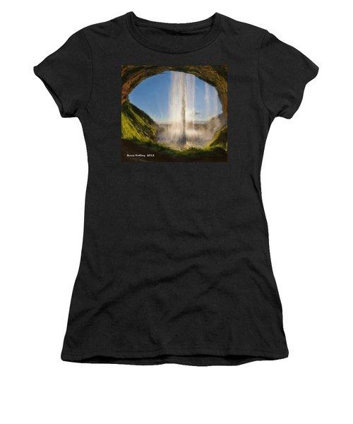 Women's T-Shirt (Junior Cut) featuring the painting Karen's Waterfalls by Bruce Nutting