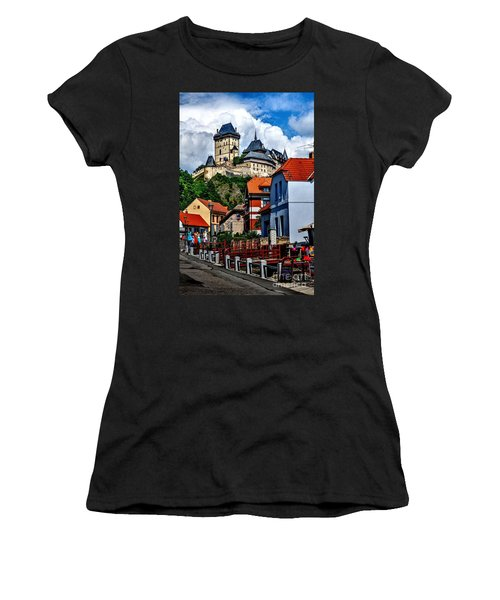 Women's T-Shirt (Junior Cut) featuring the photograph Karlstejn Castle In Prague  by Joe  Ng
