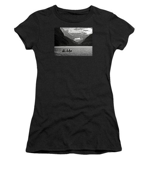 Kayak On Lake Louise Women's T-Shirt (Junior Cut) by RicardMN Photography
