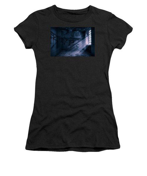 Women's T-Shirt (Junior Cut) featuring the photograph Killer Behind You - Abandoned Hospital Asylum by Gary Heller
