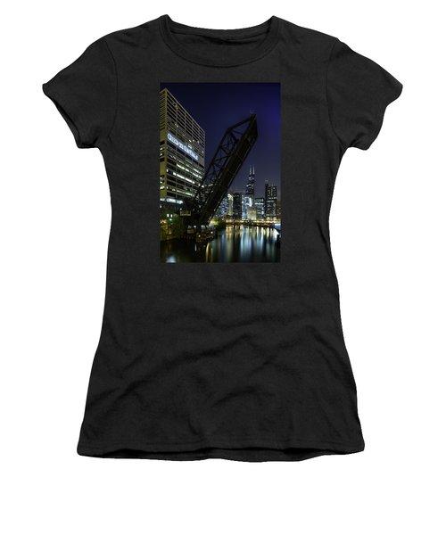 Kinzie Street Railroad Bridge At Night Women's T-Shirt