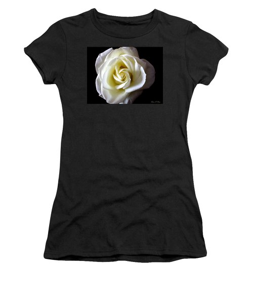 Women's T-Shirt (Junior Cut) featuring the photograph Kiss Of A Rose by Shana Rowe Jackson