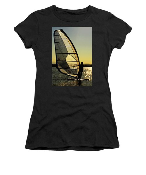 Women's T-Shirt (Junior Cut) featuring the photograph Kiteboarder Sunset by Sonya Lang