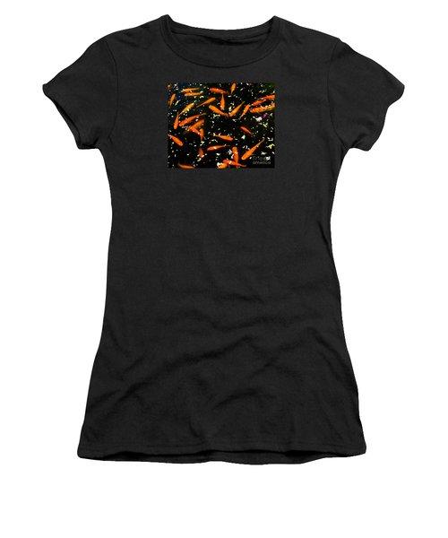 Koi Among Petals Women's T-Shirt (Athletic Fit)