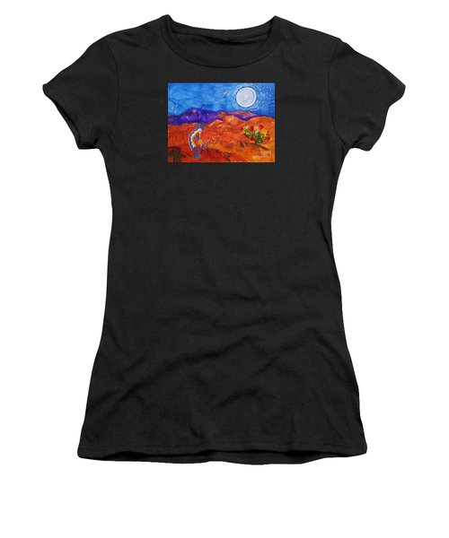 Kokopelli Playing To The Moon Women's T-Shirt (Athletic Fit)