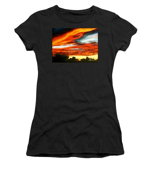 Women's T-Shirt (Junior Cut) featuring the photograph Kona Sunset 77 Lava In The Sky  by David Lawson