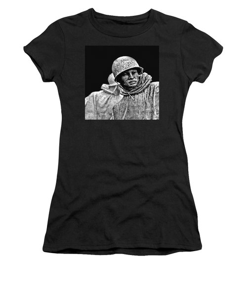 Women's T-Shirt (Junior Cut) featuring the painting Korean War Veterans Memorial by Bob and Nadine Johnston
