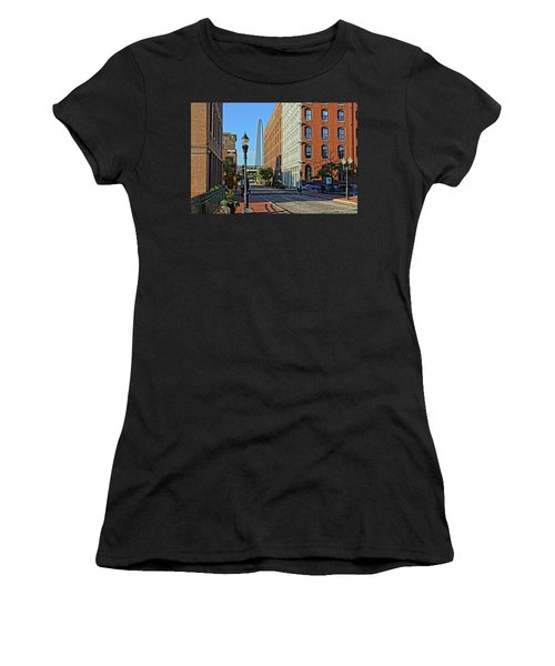 Laclede's Landing Just North Of The Arch Women's T-Shirt (Junior Cut) by Greg Kluempers
