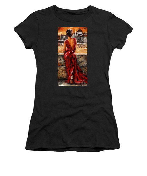 Lady In Red  34 -  I Love Budapest Women's T-Shirt (Junior Cut) by Emerico Imre Toth