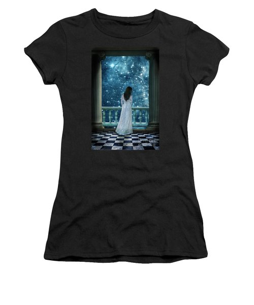 Lady On Balcony At Night Women's T-Shirt (Athletic Fit)