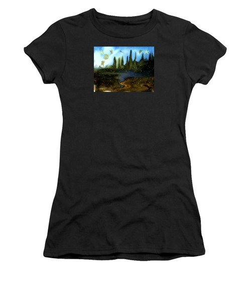 Women's T-Shirt (Junior Cut) featuring the painting Land Of The Fairies  For Kids by Sherri  Of Palm Springs