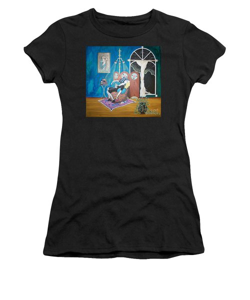 Languid Lady In A Chair Brooding Over Poetry Women's T-Shirt (Athletic Fit)