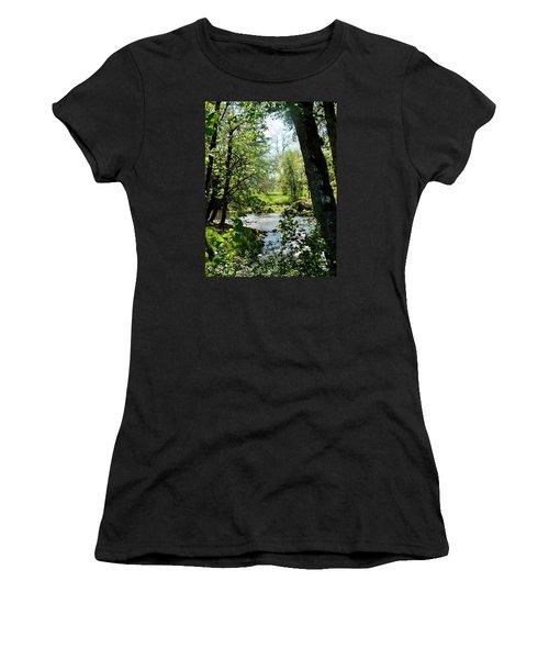 Women's T-Shirt (Junior Cut) featuring the photograph Larwood Stream by VLee Watson