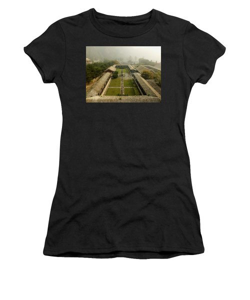 Women's T-Shirt (Junior Cut) featuring the photograph Late Morning Fog At The Great Wall  by Lucinda Walter