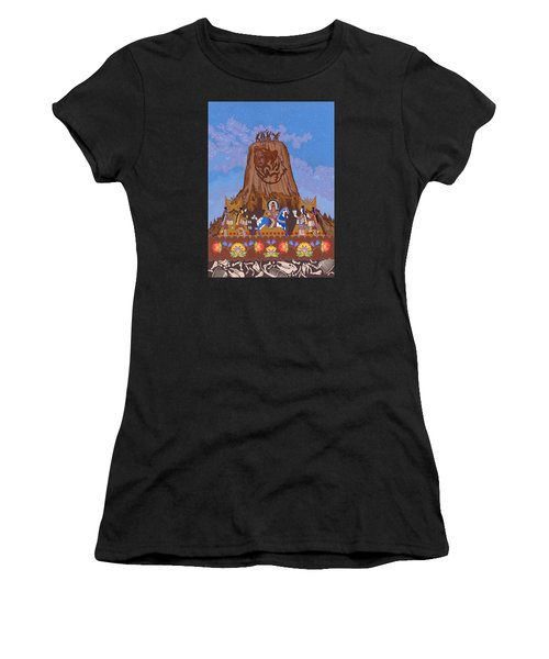 Women's T-Shirt (Athletic Fit) featuring the painting Legend Of Bear's Tipi by Chholing Taha