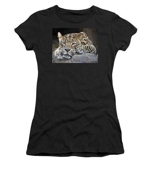 Women's T-Shirt (Junior Cut) featuring the photograph Leopard by Savannah Gibbs