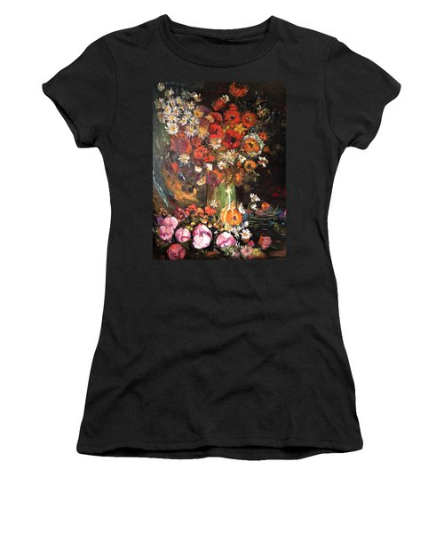 Women's T-Shirt (Junior Cut) featuring the painting Life Is Like A Vase Of Flowers by Belinda Low