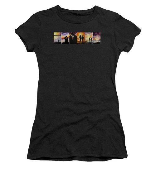Women's T-Shirt (Junior Cut) featuring the painting Life's A Beach by Tamir Barkan