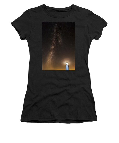 Lighthouse And Milky Way Women's T-Shirt (Athletic Fit)