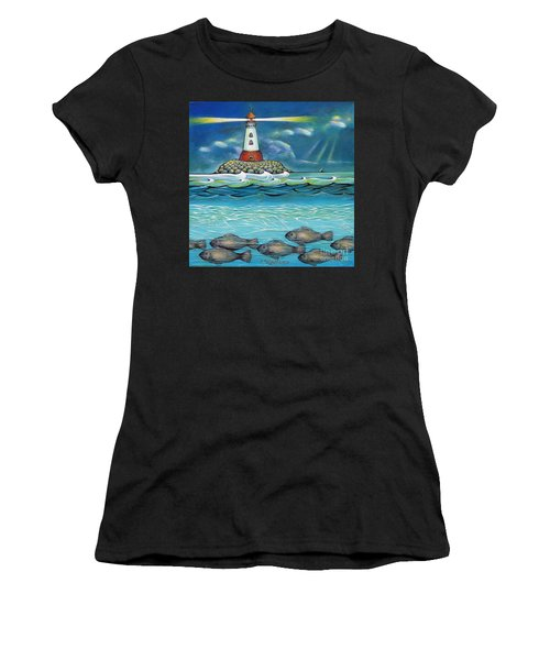 Lighthouse Fish 030414 Women's T-Shirt (Athletic Fit)