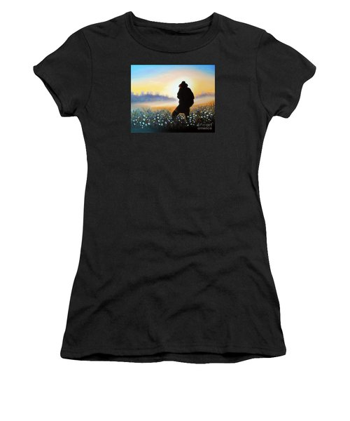 Women's T-Shirt (Junior Cut) featuring the painting Lighthunter by Vesna Martinjak