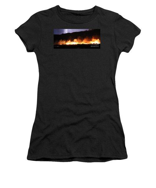 Women's T-Shirt (Junior Cut) featuring the photograph Lightning During Wildfire by Bill Gabbert