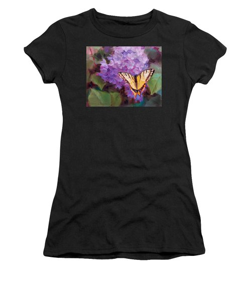 Lilacs And Swallowtail Butterfly Purple Flowers Garden Decor Painting  Women's T-Shirt (Athletic Fit)