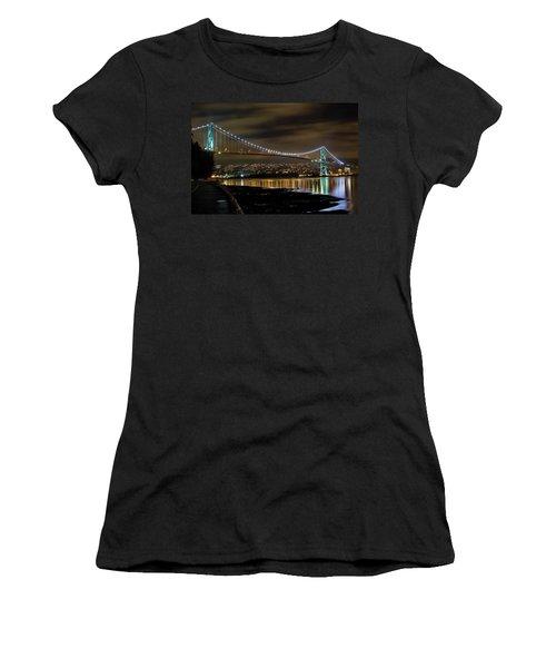 Lions Gate Bridge At Night Women's T-Shirt (Athletic Fit)