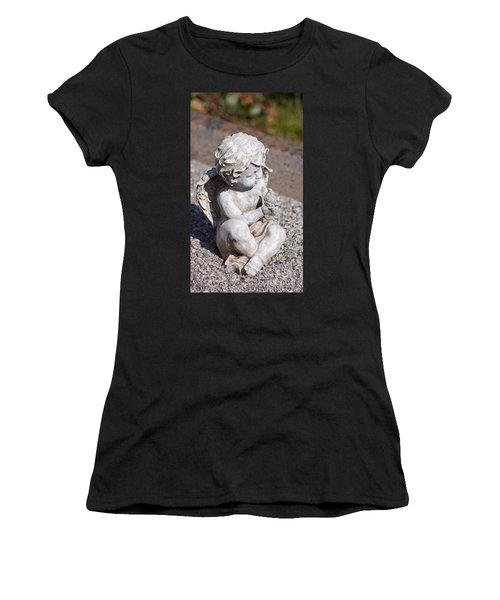 Little Angel With Bird In His Hand - Sculpture Women's T-Shirt (Athletic Fit)