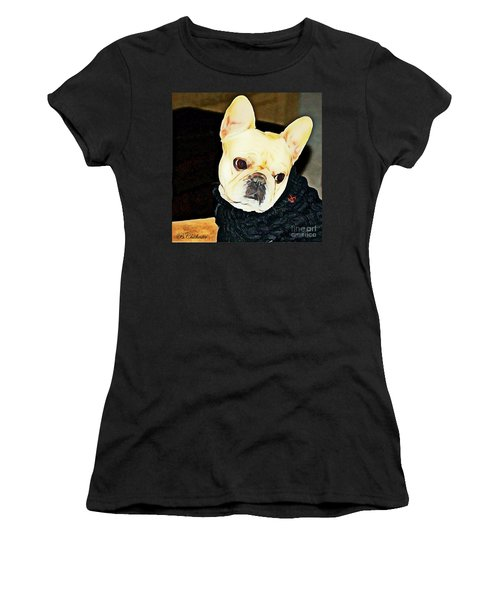 Women's T-Shirt (Junior Cut) featuring the painting Little Black Sweater by Barbara Chichester