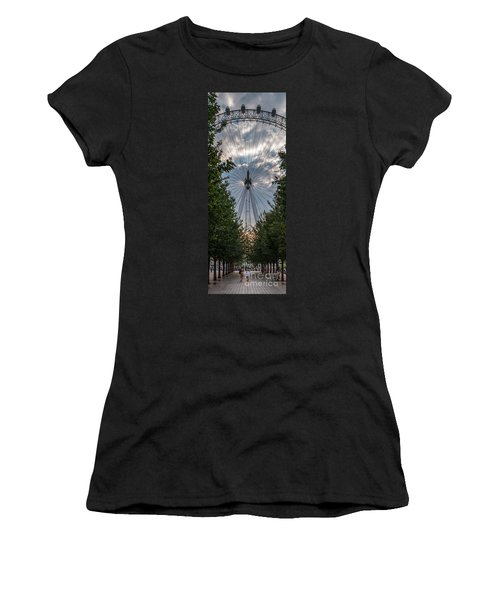 Women's T-Shirt (Junior Cut) featuring the photograph London Eye Vertical Panorama by Matt Malloy