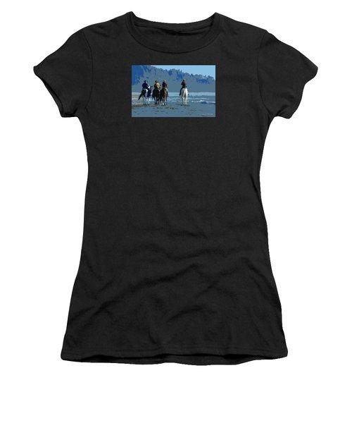 Long Beach Horses Study Women's T-Shirt (Athletic Fit)