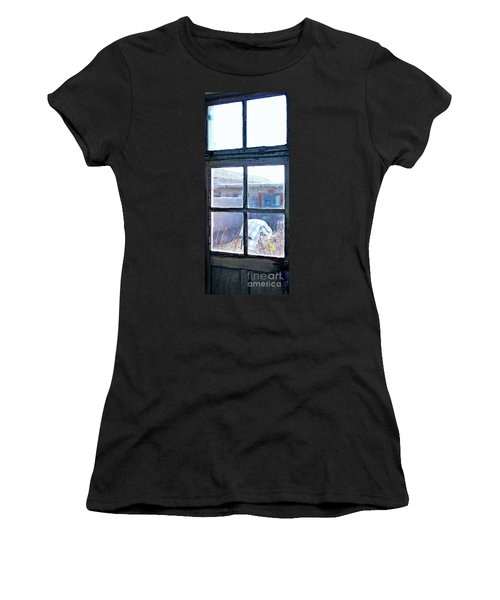 Women's T-Shirt (Junior Cut) featuring the photograph Looking Out The Kitchen Door In February by Ethna Gillespie