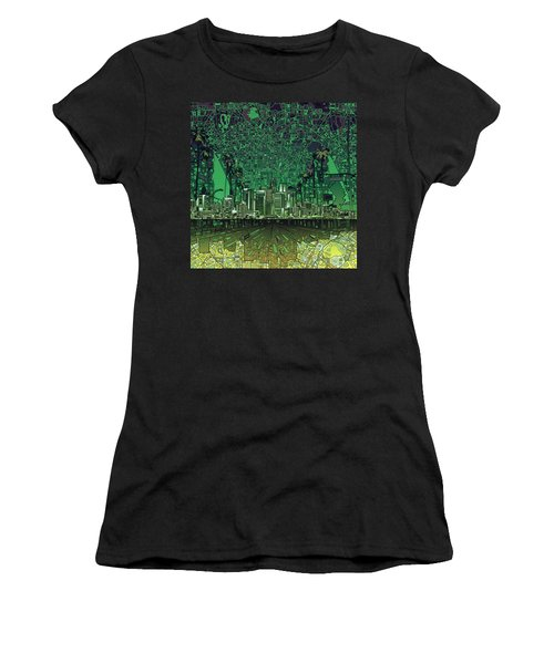 Los Angeles Skyline Abstract 6 Women's T-Shirt (Athletic Fit)