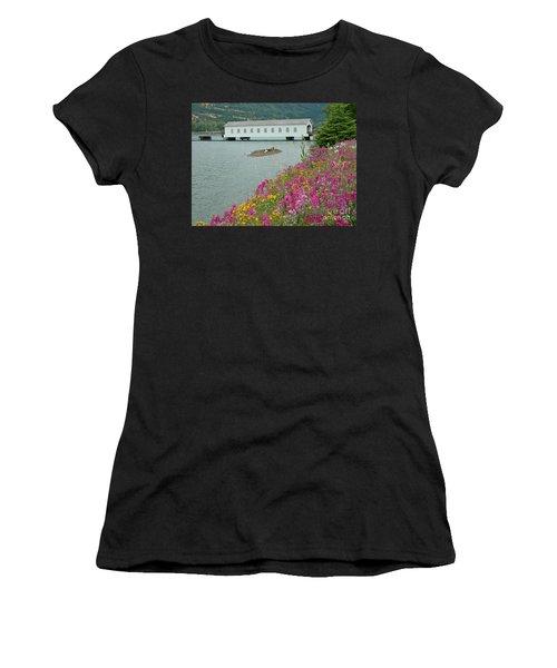 Women's T-Shirt (Junior Cut) featuring the photograph Lowell Covered Bridge by Nick  Boren