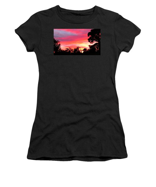 Women's T-Shirt (Junior Cut) featuring the photograph Magenta Sunset by DigiArt Diaries by Vicky B Fuller