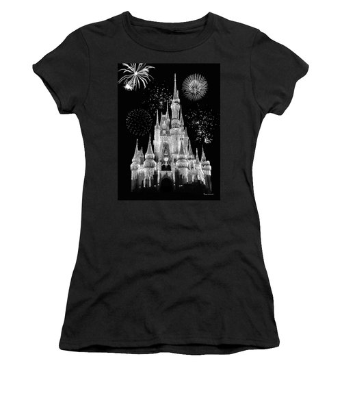 Magic Kingdom Castle In Black And White With Fireworks Walt Disney World Women's T-Shirt (Junior Cut) by Thomas Woolworth