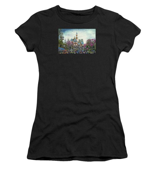 Main Street Sleeping Beauty Castle Disneyland Textured Sky Women's T-Shirt (Athletic Fit)